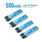 BETAFPV 4pc 550mAh Upgraded 1S HV 3.8V LiPo Battery 50C JST-PH 2.0 PowerWhoop Connector for Micro FPV Racing Drone like Inductrix FPV Plus etc