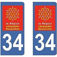 Paire Sticker immatriculation 34 - Hérault