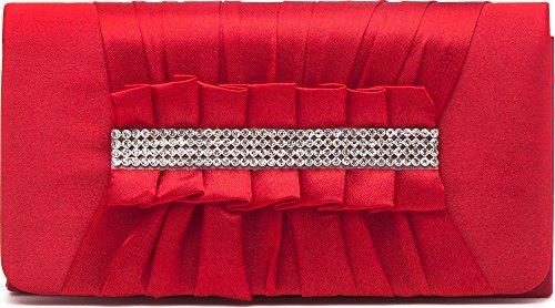 VINCENT PEREZ Borsetta, Borsa a tracolla, Pochette di raso increspato con strass eleganti e tracolla rimovibile (120cm),Colore:Rosso