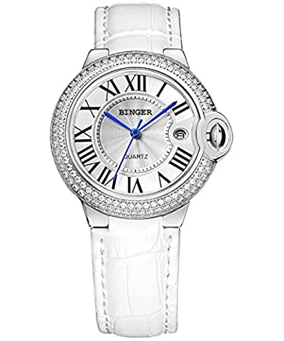 BINGER Women Silver Crystal Bezel Quartz Watch with White Leather