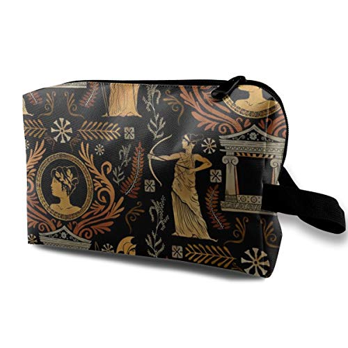 Goldene griechische Göttin Trio_221 Kulturtasche, Kosmetiktasche, tragbare Make-up-Tasche zum Aufhängen, Organizer für Frauen, Mädchen, 25,4 x 12,7 x 15,2 cm