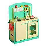 Homcom Cuisine pour Enfants, dinette, Jeu Jouet d'imitation Multi-équipement en Bois Vert