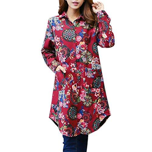 Damen Blumen Aufdrucken Jacke Retro Mantel Damen Stylischer Herbst Winter Fleece Mantel