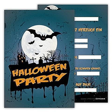 Einladungskarten lustig schaurig 12er Set Kindergeburtstag Party Halloween Party Jungen Mädchen Kinder Erwachsene Geburtstagseinladungen Karten Friedhof Fledermäuse