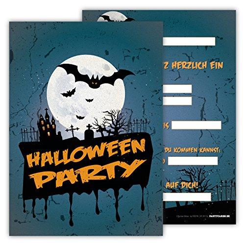 Halloween Jungs Lustig Kostüme (Einladungskarten lustig schaurig 12er Set Kindergeburtstag Party Halloween Party Kinder Erwachsene Geburtstagseinladungen Karten Friedhof)