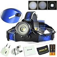 Glighone Lampada da Testa Zoomble XM-L2 LED 5000LM Ricaricabile Torcia Frontale a USB Impermeabile Ultra Luminoso per Pesca Corsa Campeggio Arrampicata Ciclismo Pesca