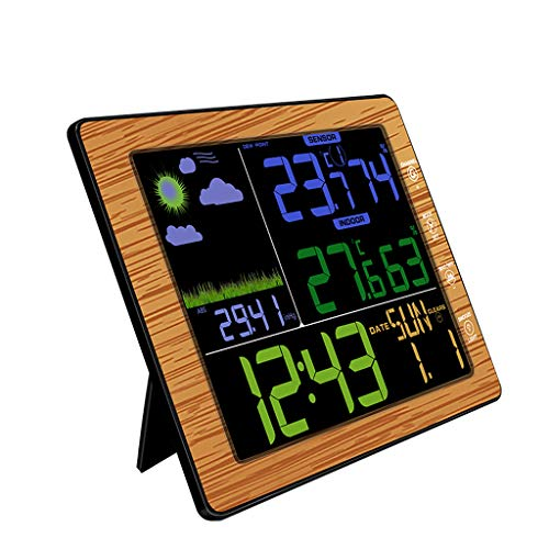 ToDIDAF TS-8210 Color LCD Wireless Wetteruhr, Wetterstation mit drahtlosem Fernbedienungssensor, Temperatur- und Feuchtemessgerät, Innen- und Außenbereich (Holzrahmen) Lcd-pole Kit