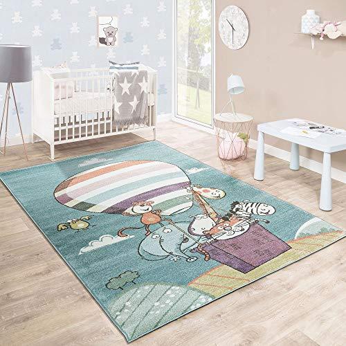 Tappeto per bambini stanza dei giochi caos animali zoo pallone giocoso colorato, dimensione:160x220 cm
