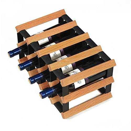 LOFAMI Küche Haushalt Wohnen Weinregale 12 Bottle Modular Wine Rack - Hochwertiges Buchenholz - Sehr robust und hält Lange - Praktisch und kompakt Halter Ständer Weinregale (Color : A) - Modular Wine Rack