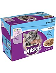 Whiskas 2 to 12 Months Kitten Pouches Fish Selection in Jelly, 12 x 100 g