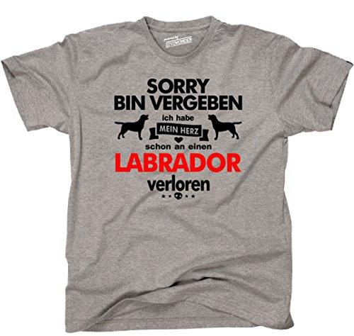 Siviwonder Unisex T-Shirt LABRADOR Herz verloren Hund Hunde fun sports grey - rot