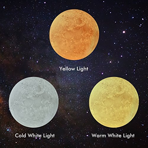 comprare on line 3D Moon Lampada luna,Bonega® (5.9Nch/15cm) LED Night Light Moonlight Lampada da Tavolo 3 Colori Senza fili Toccare il Controllo Luminosità con USB Ricaricabile Per la Casa Decorazione Natale Baby Night Light prezzo