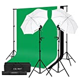 CRAPHY Fotostudio Set, Studioschirm Set und Hintergrund Set, Fotoschirm Set mit 2x Fotolampe(125W), 2x Lampenfassung und 2x Lampenstativ, Hintergrundsysteme mit 3x Hintergrundstoff(Grün/Weiß/Schwarz) und Hintergrundstativ für Green Screen, Portrait, Modefotografie und Videoaufnahme