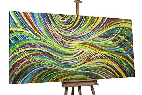 'Im Sog der Farben' 200x100cm | Abstrakt Bunte Linien | Modernes Kunst Acrylbild