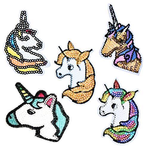 Paquete de 5 parches de lentejuelas bordados con diseño de unicornio para coser o planchar 5 Uicorn