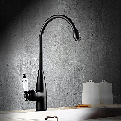 Hlluya Wasserhahn für Waschbecken Küche Schwarz Antik Kupfer Schale Waschbecken-weiten Wasser- Schritt auf dem oberen Becken Küche Wasserhahn -