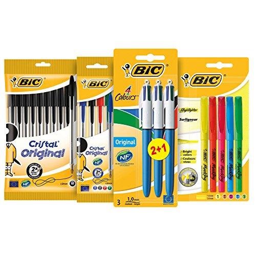 BIC Schreibwarenset für den Schulbedarf oder das Büro – Stifte Set mit 10x BIC Cristal Kugelschreiber Schwarz, 4x BIC Cristal Kugelschreiber Bunt, 3x BIC 4-Colours Kugelschreiber & 5 BIC Highlighter