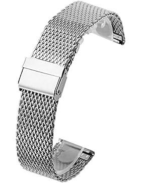 JSDDE Uhrenarmband Silber Geflecht Strap Mesh Metallarmband aus Edelstahl Watchband mit Sicherheitsfaltschliesse...