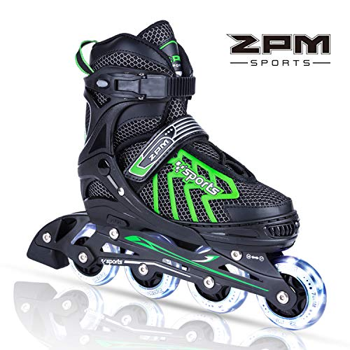 2PM SPORTS Brice Regolabili Pattini in Linea Bambina,Light up Roller Pattini Roller Inline Skates per Bambina e Bambino e Ragazze - Green S(29-32)