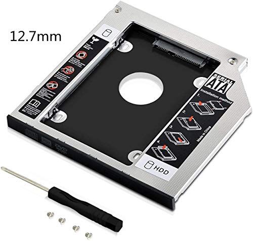 GeekerChip Hard Drive Caddy Frame 9,5mm,2nd 2.5' HDD/SSD SATA 3.0 HDD Hard Drive Adattatore per 9,5mm Notebook Dvd-Rom bay Ottico