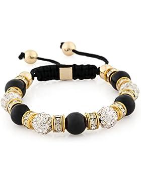 Morella® Damen Armband Steinperlen und Zirkonia Strass verstellbar gold - verschiedene Farben