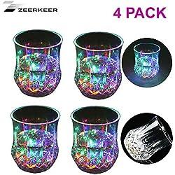 Zeerkeer Cambio de Color para Beber Vasos con LED 5 LED Luces de acrílico Plexiglás No zerbrechlich Agua Densidad Marble Textura PC de Material