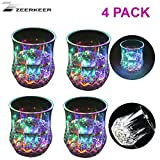 ZEERKEER Farbwechsler Trinkglas Gläser mit LED 5 LED-Leuchten Acryl Plexiglas Nicht zerbrechlich Wasserdichte Marble Textur PC-Material (4)