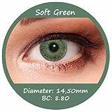 Grüne Farbige Kontaktlinsen 3 Monatslinsen mit Stärke -1,25 Design: Soft Green
