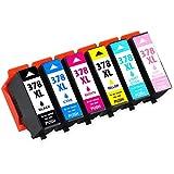 Jagute 378XL Druckerpatronen Ersatz für Epson 378 XL 378 für Epson Expression Photo XP-8500 XP-8505 XP-15000 Tintenpatronen Hohe Kapazität 6er-Pack (Schwarz, Blau,Rot, Gelb, Licht Blau, Licht Rot)