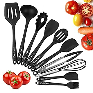 Phroboxl Kitchen Utensils Set - 10 Piece Non-Stick Silicone Cooking Tools, ishwasher Safe, Black