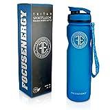FOCUSENERGY Sport Trinkflasche für Alltag, Sport und Outdoor - 1L - Auslaufsichere Trinkflasche aus Tritan mit praktischem Fruchtsieb - BPA frei & Eco friendly