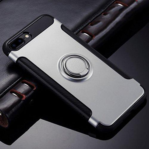 Merssavo Housse Coque Etui Protection Hybride TPU/PC avec poignée support bague pour Apple iPhone 7 Rose or Argent