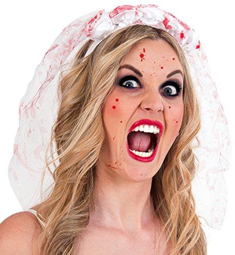 Haarreif Blutschleier mit weissen Rosen Horror HALLOWEEN Schleier Zombiebraut Bloody Lady Scherzartikel Veil weiss mit roten Blutflecken Accessoire Karneval