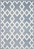 Jugendteppich Kinderzimmer Designer Kinderteppich Linien Karo in blau Weiss Größe 120 x 170 cm