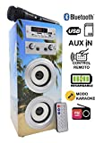 DYNASONIC Altavoz Karaoke Bluetooth 10W, Reproductor mp3 inalámbrico Portátil, Lector USB SD, Radio FM - Modelo 9