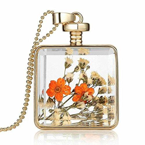 AMDXD Damenkette Gold Orange Getrocknete Blumen Rose Quadrat Glas Echt Blumen Halskette mit Anhänger 60CM