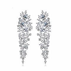Idea Regalo - GULICX Luccicanti orecchini pendenti placcati in argento, stile Art déco, decorazione a forma di foglie, con zirconi, per sposa