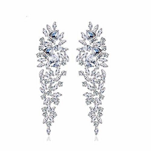 GULICX Schöne weiße Zirkonia CZ Silber-Ton Blatt Chandelier Ohrringe Hochzeit Ohrhänger für Braut