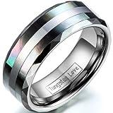 JewelryWe Schmuck 8mm Breite Wolframcarbid Herren-Ring Abalone Inlay Trauringe Hochzeit Engagement Versprechen Band Größe 52 bis 74