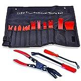 attrezzi auto con custodia, kit di attrezzi per rimozione tappezzeria, pannelli portiera, cruscotto, in nylon resistente + pinze clip + 2 pezzi rimozione (totale 14 pezzi)