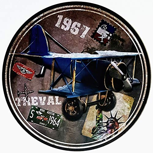 MI RINCON Cuadro Madera Redondo Motivo: Avion Antiguo