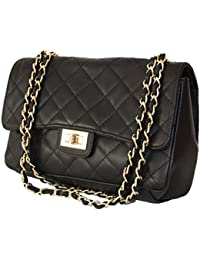 bb80eae82efb0 Sa-Lucca echt Leder Handtasche gesteppt mit Ketten Damentasche Ledertasche  Schultertasche schwarz MADE IN ITALY