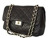 Sa-Lucca echt Leder Handtasche gesteppt mit Ketten Damentasche Ledertasche Schultertasche schwarz MADE IN ITALY