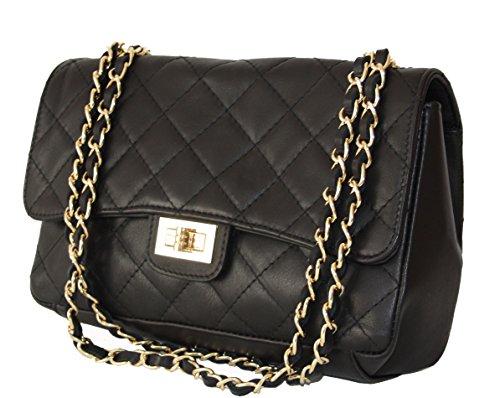 Sa-Lucca echt Leder Handtasche gesteppt mit Ketten Damentasche Ledertasche Schultertasche schwarz MADE IN ITALY (Handtaschen Chanel Leder)