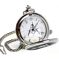 Personalised Silver Plated Masonic G Pocket Watch With Gift Box, Engraved Gift