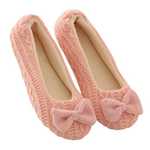 Bow chaussures chaudes - TOOGOO(R) Plancher femmes dames chaussons d'interieur semelle exterieure bowknot femme chaussures de yoga chaud en coton rembourre (S, Rose)