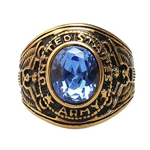 Aooaz pour hommes en acier inoxydable bague Plaqué or gravé armée bleu CZ Anneau demi-jonc rétro Vintage taille 56.5