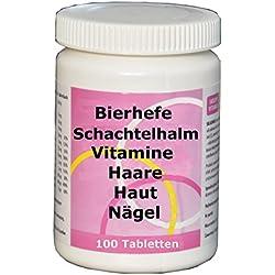 Für starke Haare, Nägel, schöne Haut - Hefe mit Silicium aus Schachtelhalm, 7 Vitaminen, Biotin, Selen, 100 Tabl, gegen Haarausfall, 2 Monate Kur, vitamin,
