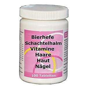 Für starke Haare, Nägel, schöne Haut – Hefe mit Silicium aus Schachtelhalm, 7 Vitaminen, Biotin, Selen, 100 Tabl, gegen Haarausfall, 2 Monate Kur, vitamin,