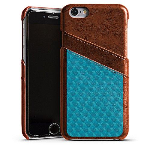 Apple iPhone 5s Housse Étui Protection Coque Vagues Mer Vacances Étui en cuir marron